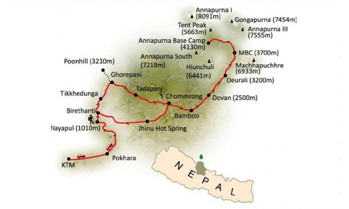 Annapurna Base Camp Helicopter Tour Map