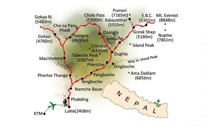 Jiri to Everest Base Camp Trek Map