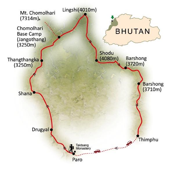 Bhutan Tour Map