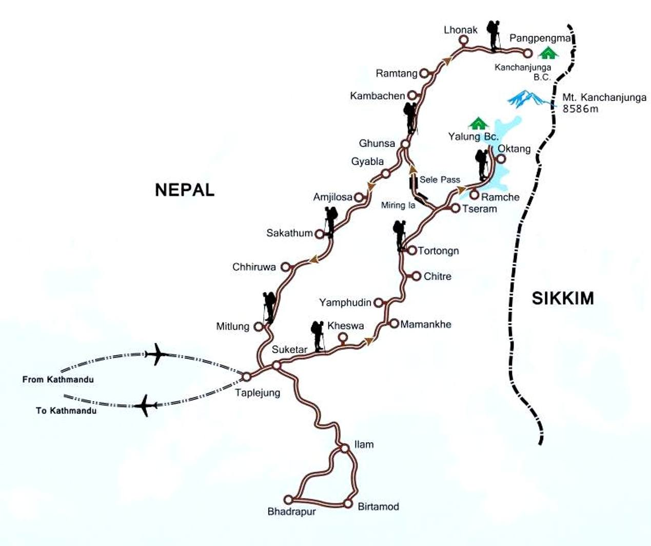 Kanchenjunga North Base Camp Trek Map