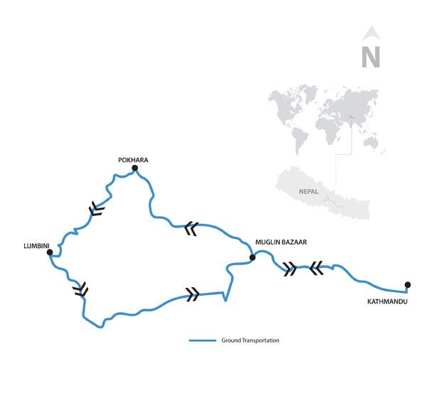 Kathmandu and Pokhara Tour Map