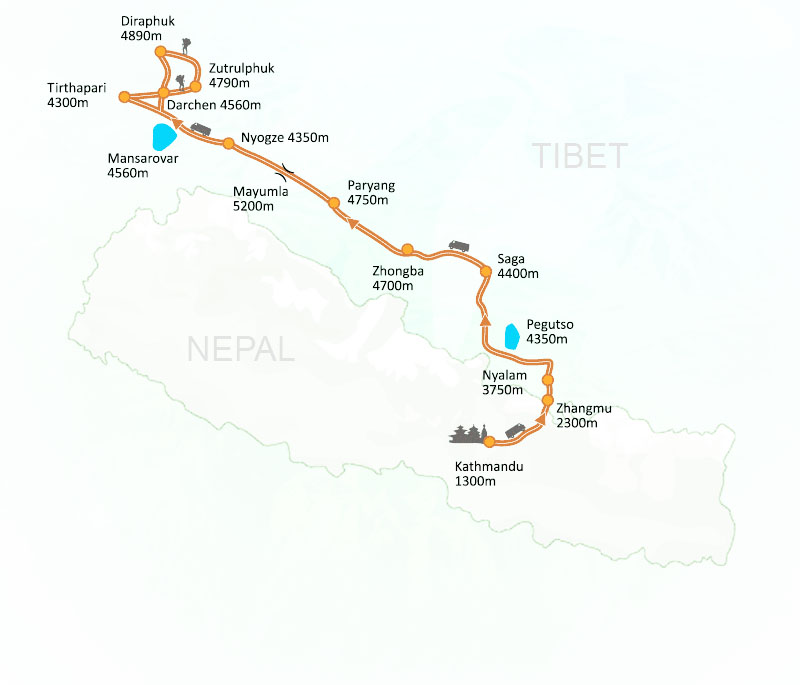 Mount Kailash Tour via Lhasa Map