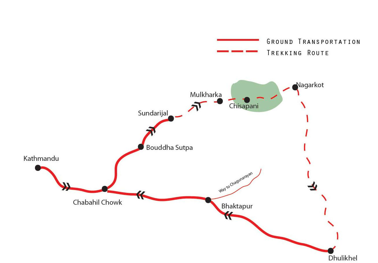 Nagarkot Day Hike Map